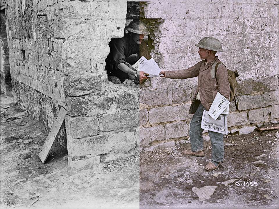 ColourizationHalf - boy with newspaper