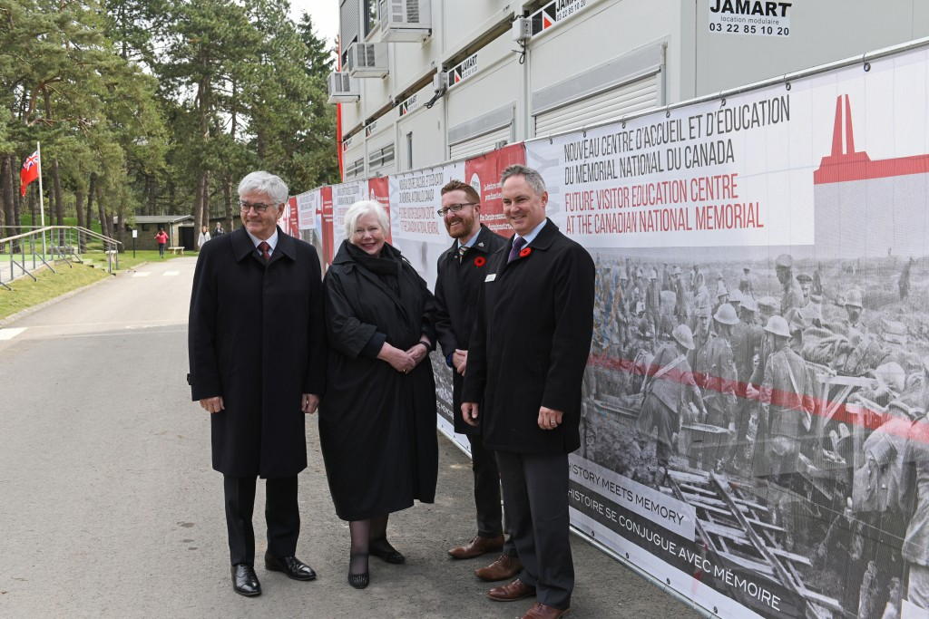 Tour of Vimy Visitor Education Centre site on April 9, 2016. (L to R) The Honourable Lawrence Cannon Ambassador of Canada to France; The Honourable Elizabeth Dowdeswell, Lieutenant Governor of Ontario; Jeremy Diamond, Executive Director, Vimy Foundation; Greg Kenney, Director General, European Operations, Veterans Affairs Canada.