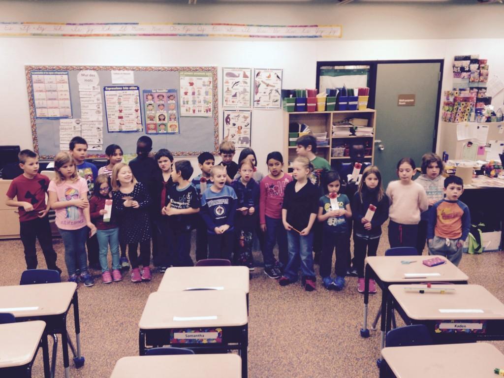 École Communautaire La Voie du Nord, la classe de Musique 2ème et 3ème année, Thompson, MB