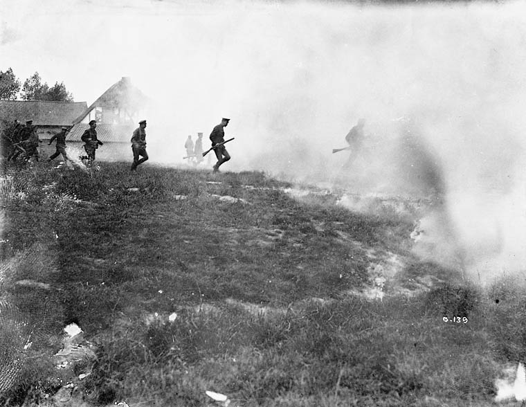 Battle of Mount Sorrel. Attacking under smoke. Credit: Henry Edward Knobel / Canada Department of National Defence / Library and Archives Canada / PA-000169