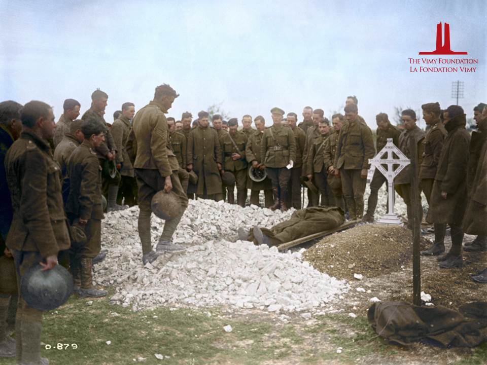 Burial of Major Edward Lewin Knight, commander of the Eaton Motor Machine Gun Battery (Canadian Machine Gun Corps). Knight was killed on 26 September 1916. Photo courtesy of Library and Archives Canada. | Colourized for the first time ever by Canadian Colour.