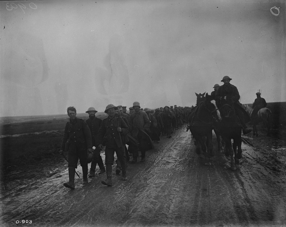 German Prisoners captured by Canadians in the storming of Regina Trench. October, 1916. Photo courtesy of Library and Archives Canada. PA-000825.