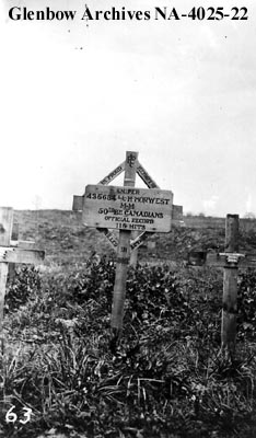 Marker at gravesite of Lance Corporal Henry Norwest, Warvillers, France. Glenbow Archives NA-4025-22.