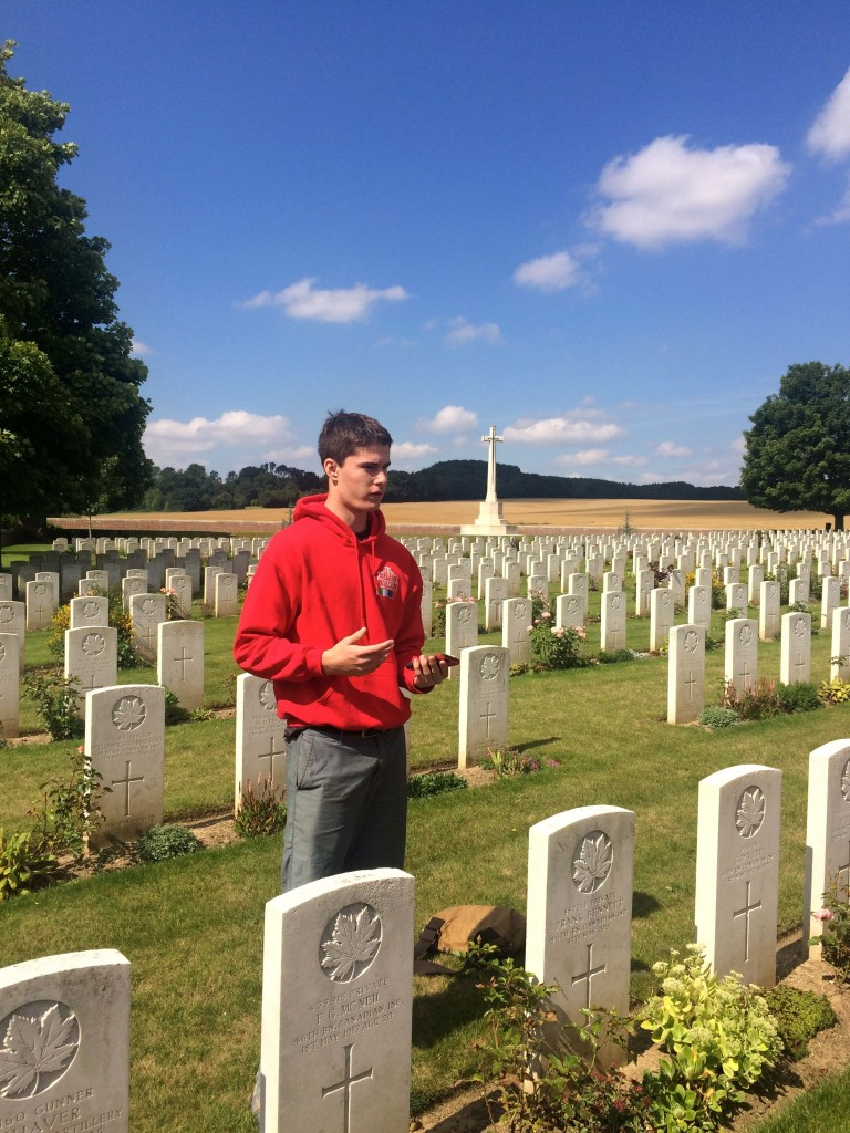 Adam LaBrash at the Villers Station Cemetery, France in 2016. Photo: the Vimy Foundation / Hanna Smyth.