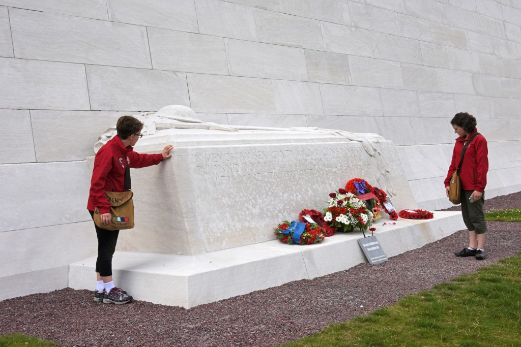 Merren at the symbolic tomb draped in laurel branches, Canadian National Vimy Memorial.