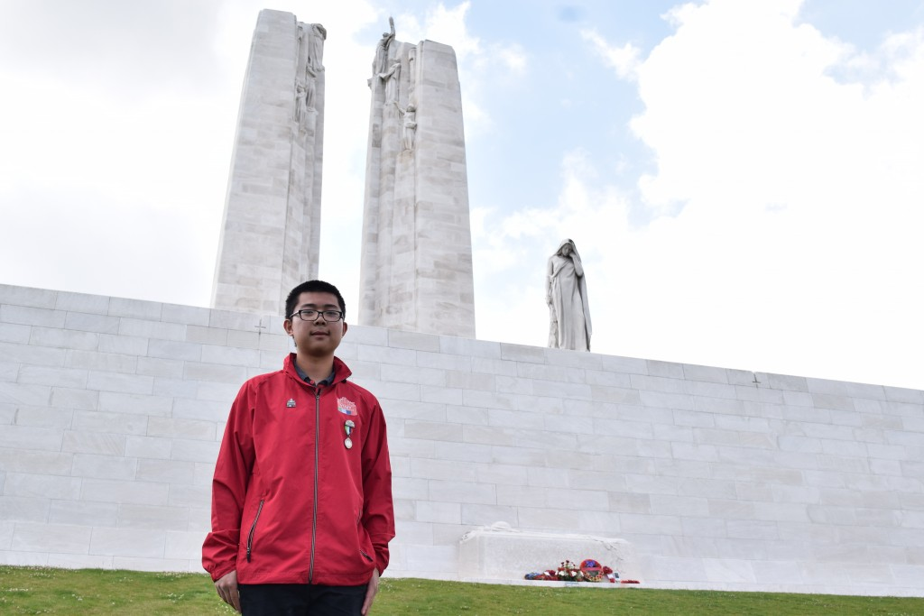 Andrew Yin at the Vimy Memorial. Photo courtesy of Andrew Yin.