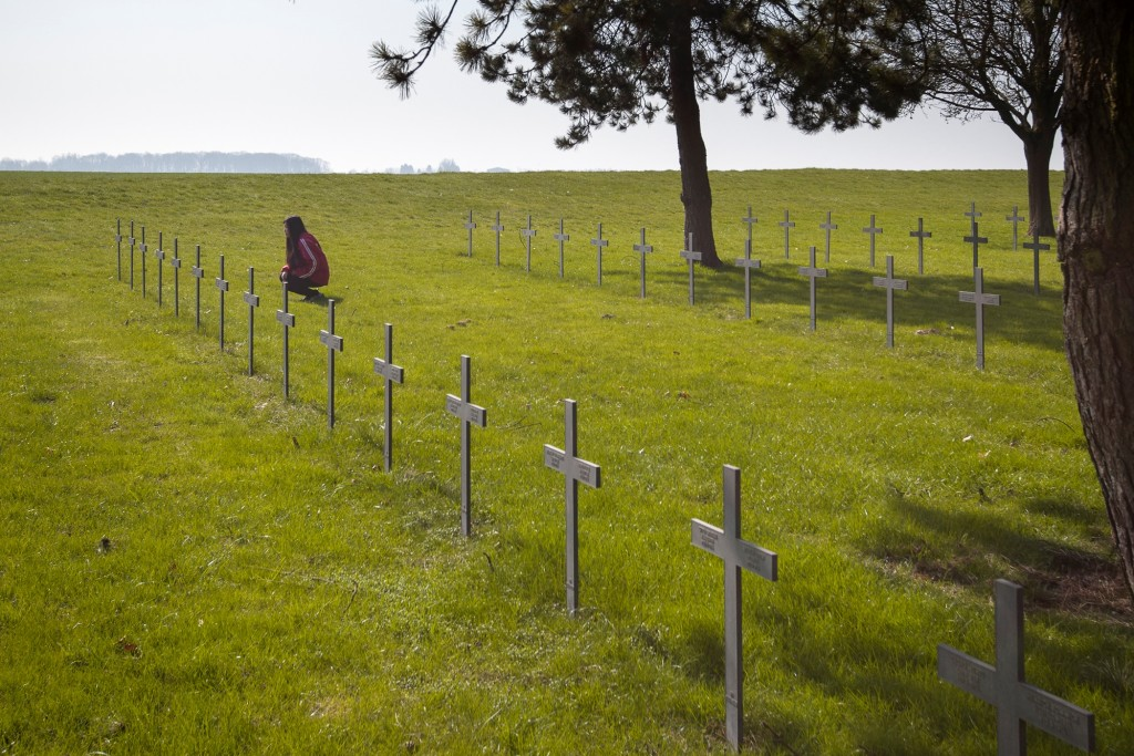 Vimy Pilgrimage Award recipient Tiffany Quon at the Neuville St. Vaast German War Cemetery. Credit: the Vimy Foundation / Pascal Brunet.