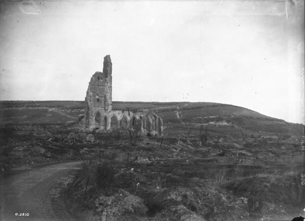 In 1932, Will R. Bird returned to the battlefields and witnessed the lasting scars of the war on the landscape. Depicted here are the ruins of the Church at Ablain St. Nazaire.  Photo: Canada. Dept. of National Defence/Library and Archives Canada/PA-002462