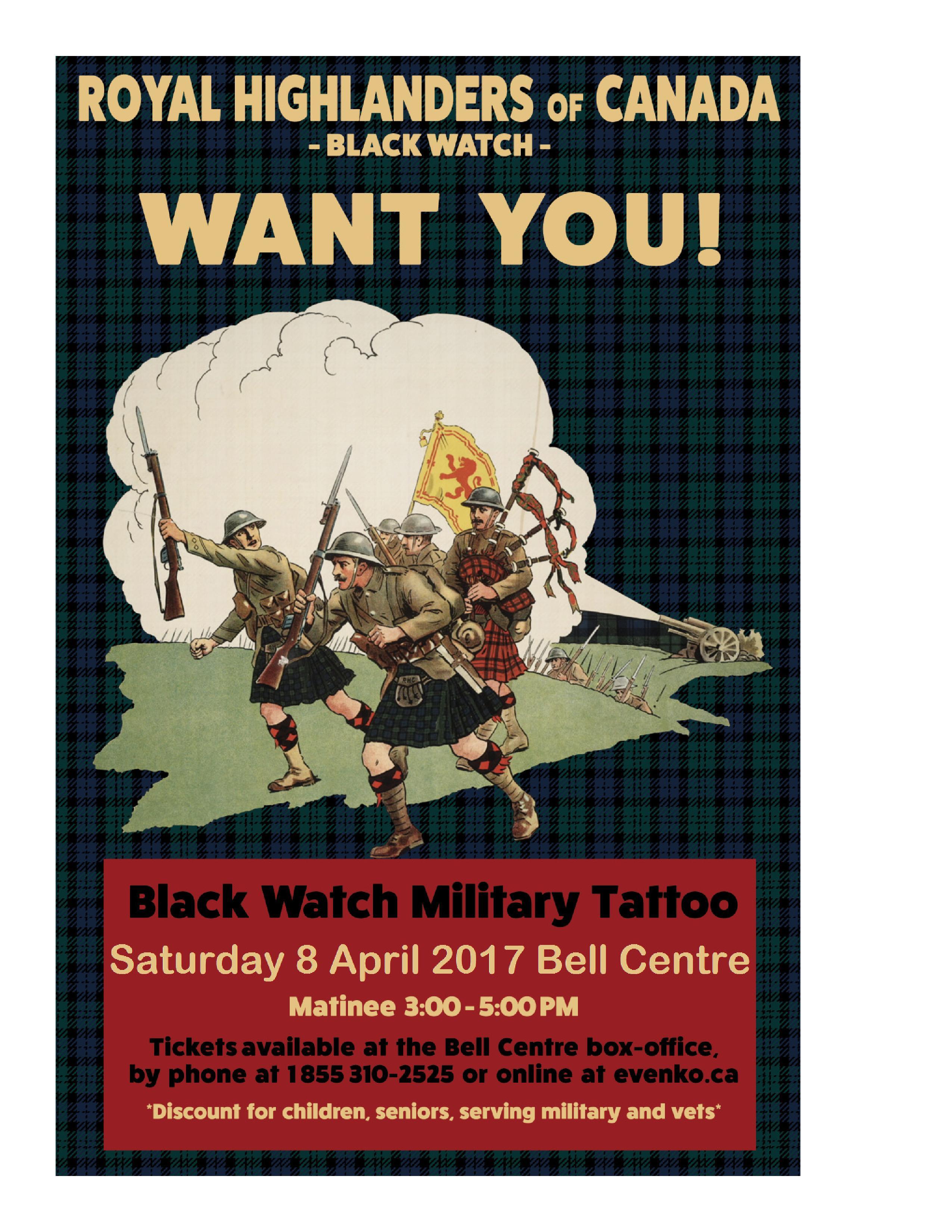April 8, Montreal, QC - Black Watch Military Tattoo