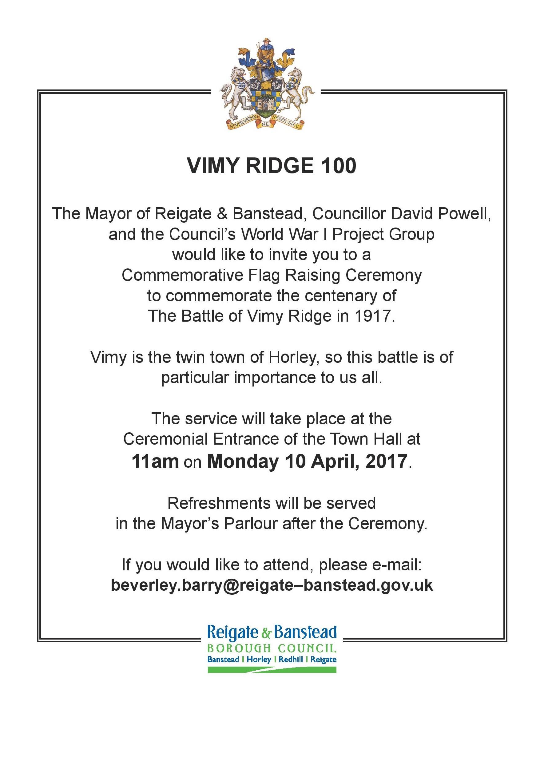 April 10, Reigate & Banstead, UK - Vimy Ridge 100