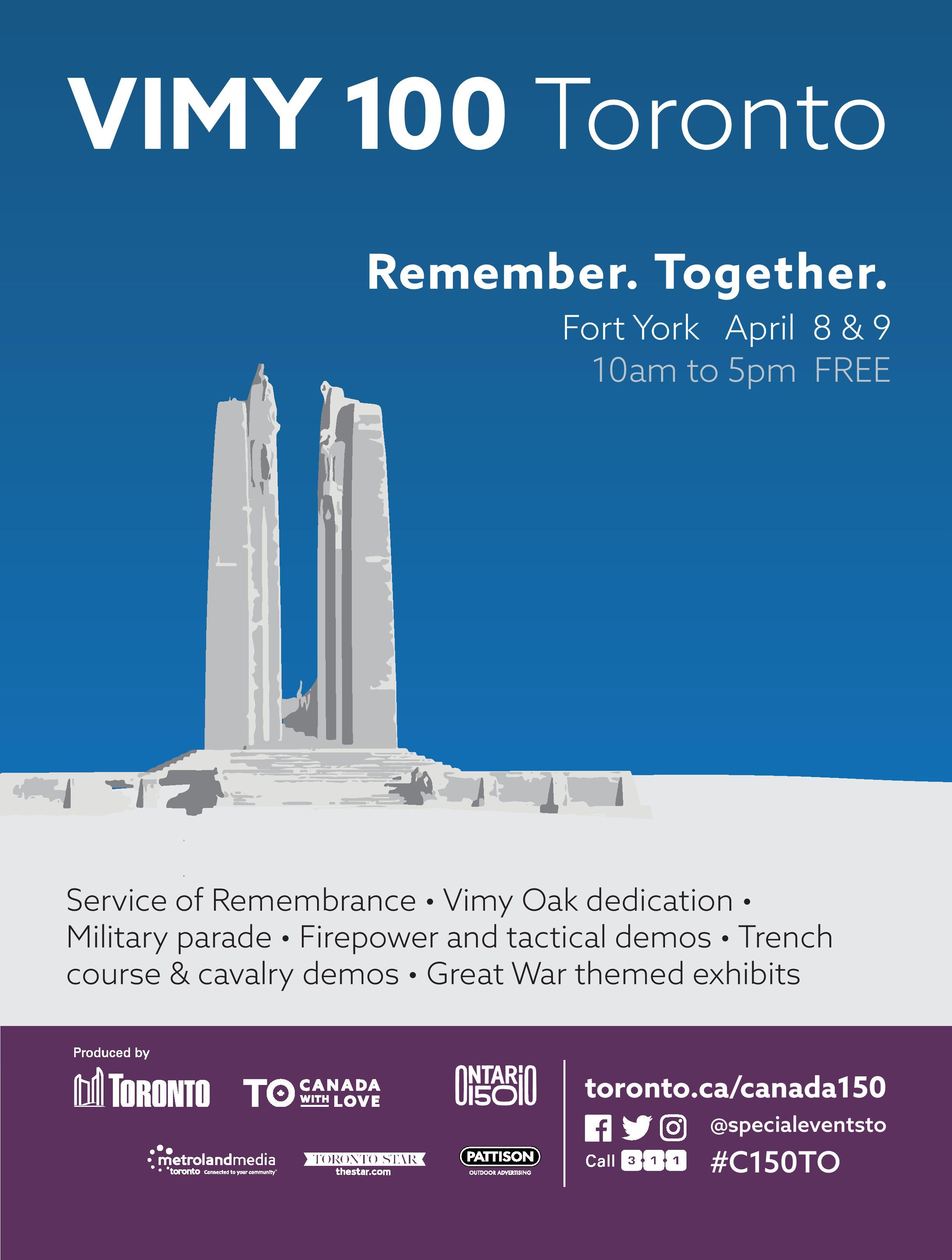 April 8 & 9, Toronto, ON - VIMY 100 Toronto