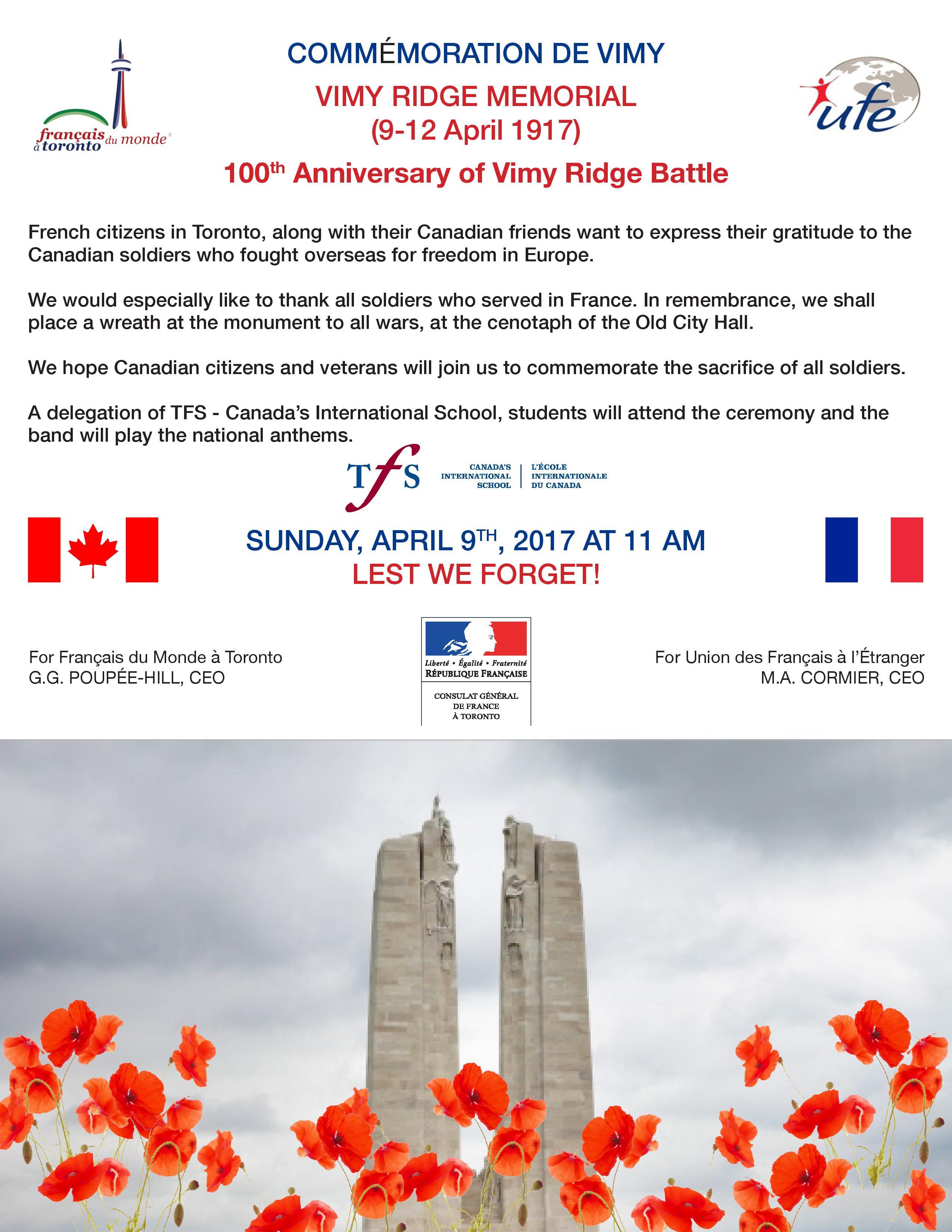 April 9, Toronto, ON - Vimy Ridge Memorial: 100th Anniversary of Vimy Ridge Battle