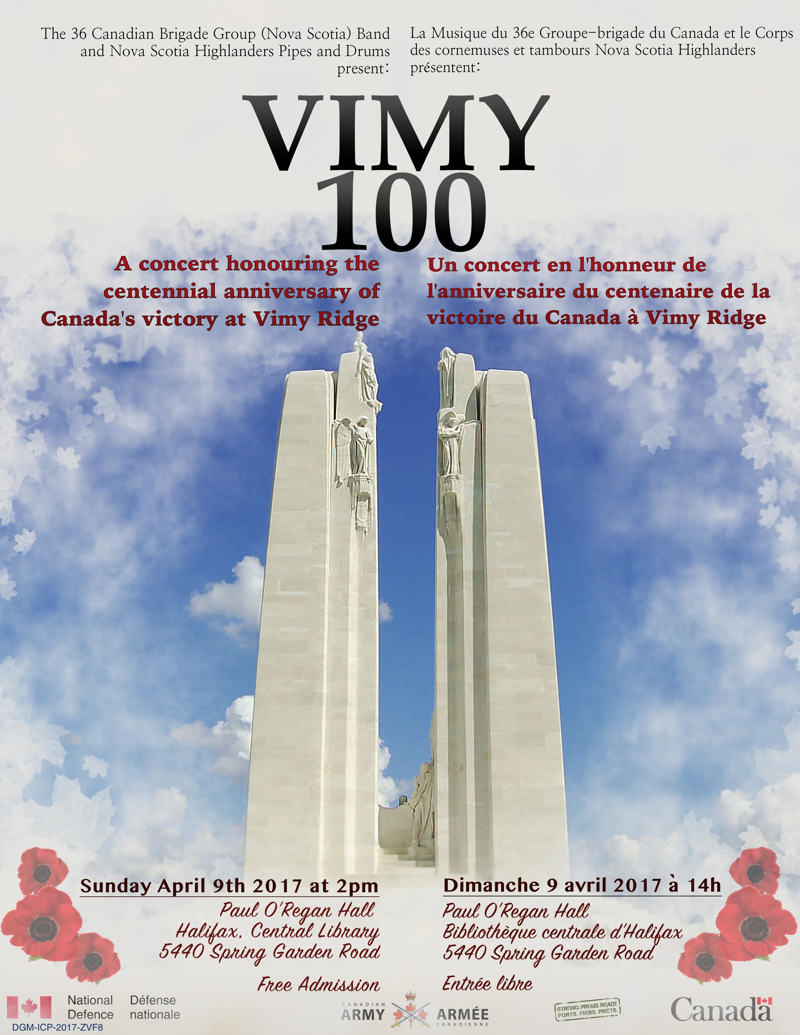 April 9, Halifax, NS - VIMY 100
