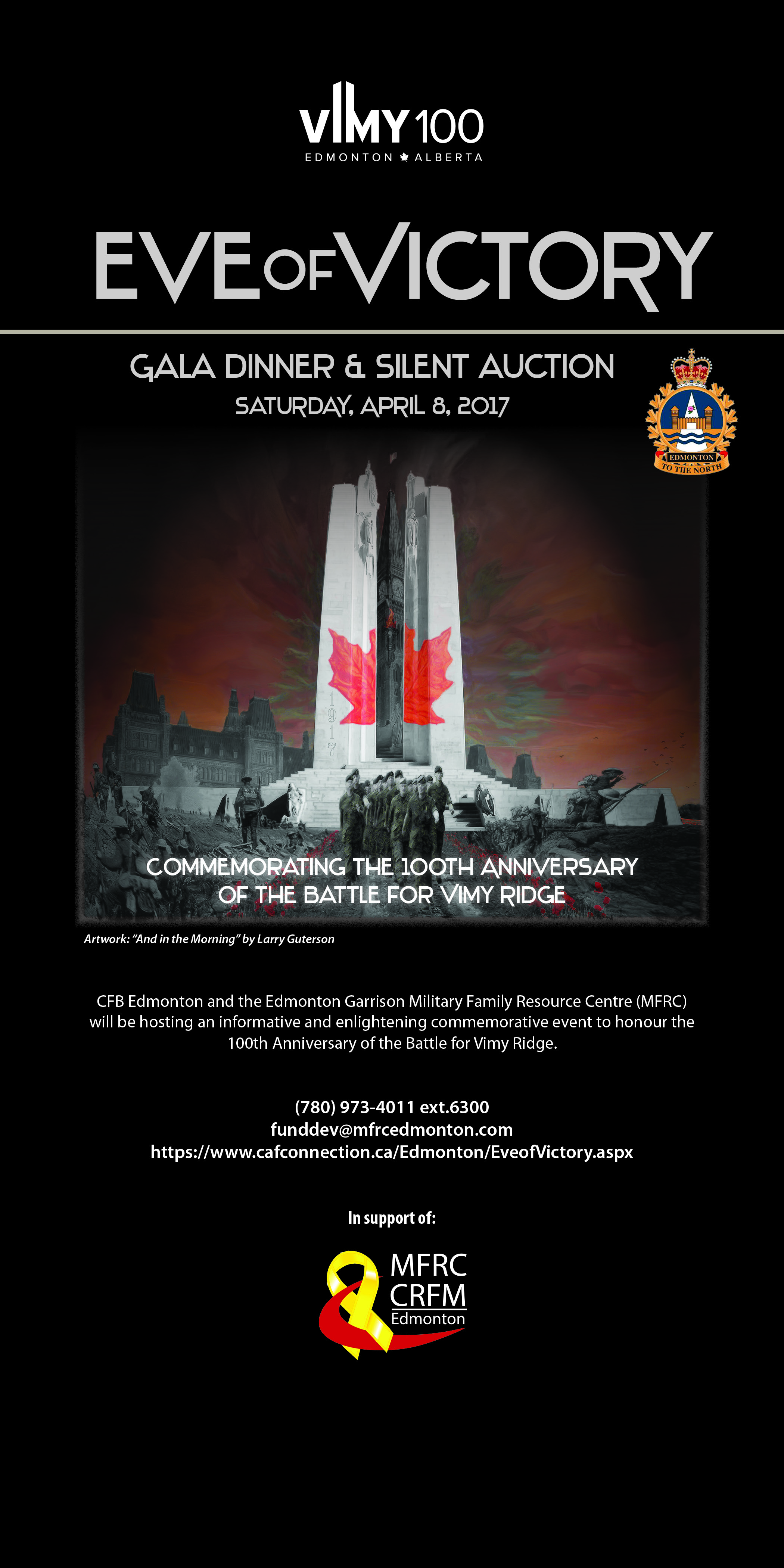April 8, Edmonton, AB - Eve of Victory Gala Dinner and Silent Auction
