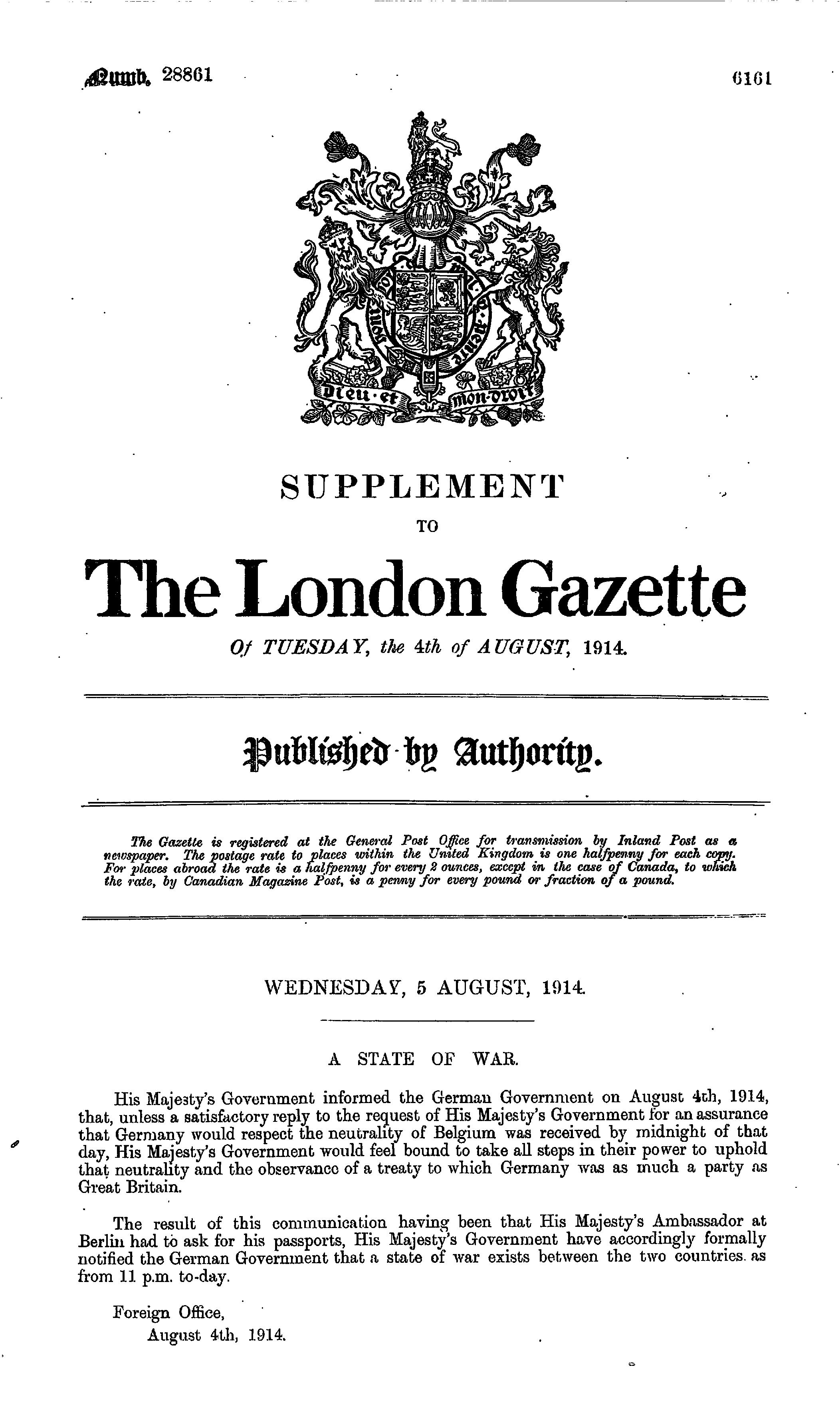 huge selection of 814b3 9ec41 The London Gazette Publication date  4 August 1914 Supplement  28861 Page   6161